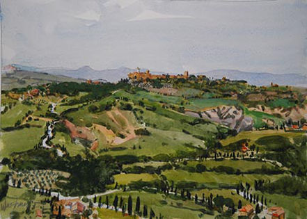 'Pienza' watercolor on paper painted en plein aire on the hilltops in Italy an example of a watercolor sketch