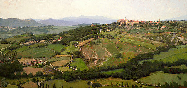 'Looking to Pienza' Italy 22 x 46 inches oil on linen finished studio painting based on plein aire sketches