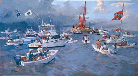 Raising the Hunley  Oil  2000 This painting depicts boaters watching the raising of the Civil War submarine the H.L. Hunley from the Charleston Harbor