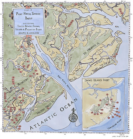 """This map was created for my upcoming book, """"Painting the Southern Coast: The Art of West Fraser."""" The numbered red circles are color image plate numbers and indicate my painting sites."""