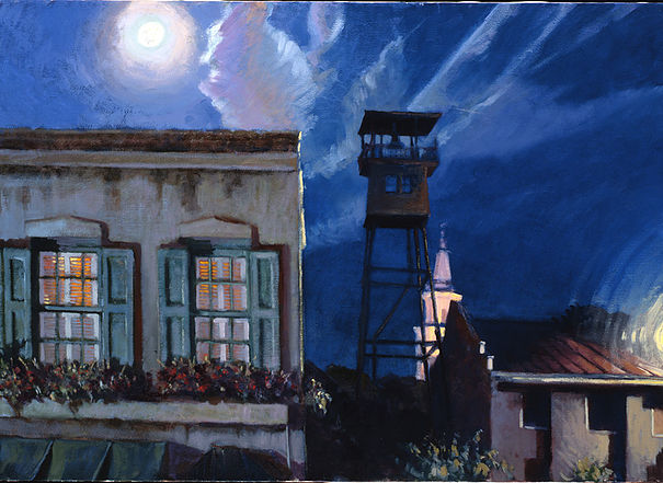 Moonrise on the Water Tower  Oil  1997 This is an old water tower that was used for fire brigades, it still exists, but is not functioning.