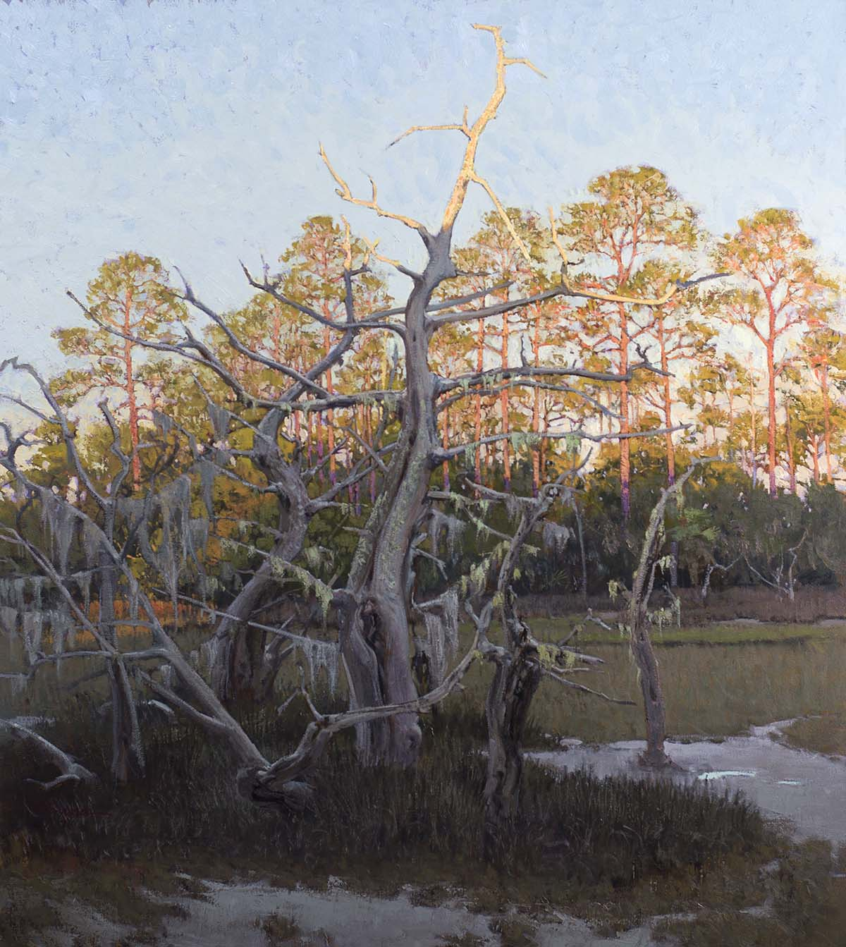 "36 x 40 oil on linen 2016,sgnd BL West Fraser '16; Palmetto Bluff, SC; Latitude- 32°13'14.03""N: Longitude- 80°53'44.38""W GPS:32.2205638889, -80.8956611111"